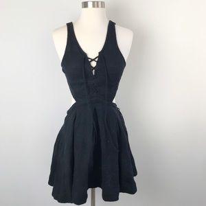 Free People Black Dress Criss Cross Open Back XS